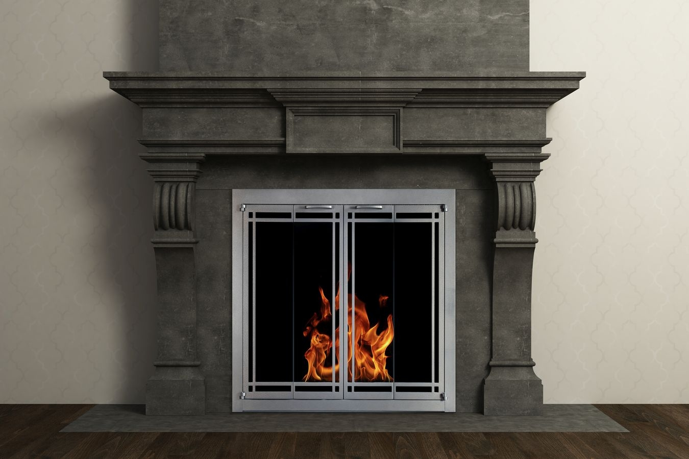 Portland Willamette Steel Door - Ovation Door Rectangular Deco Full Fold Vintage Iron Finish In Dark Grey Mantel Surround