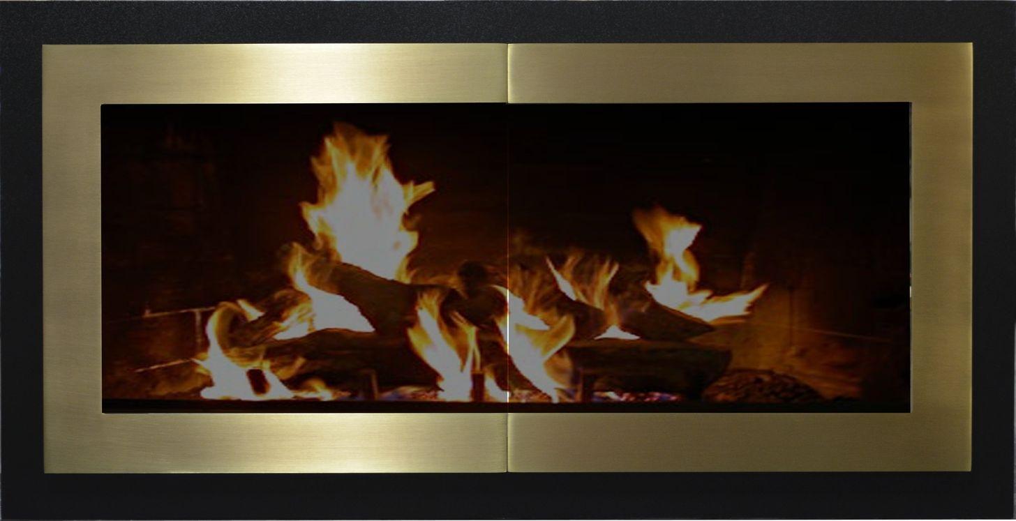 Portland Willamette Steel Door - Broadway Door With Frame Reveal Satin Black Reveal Satin Brass Doors