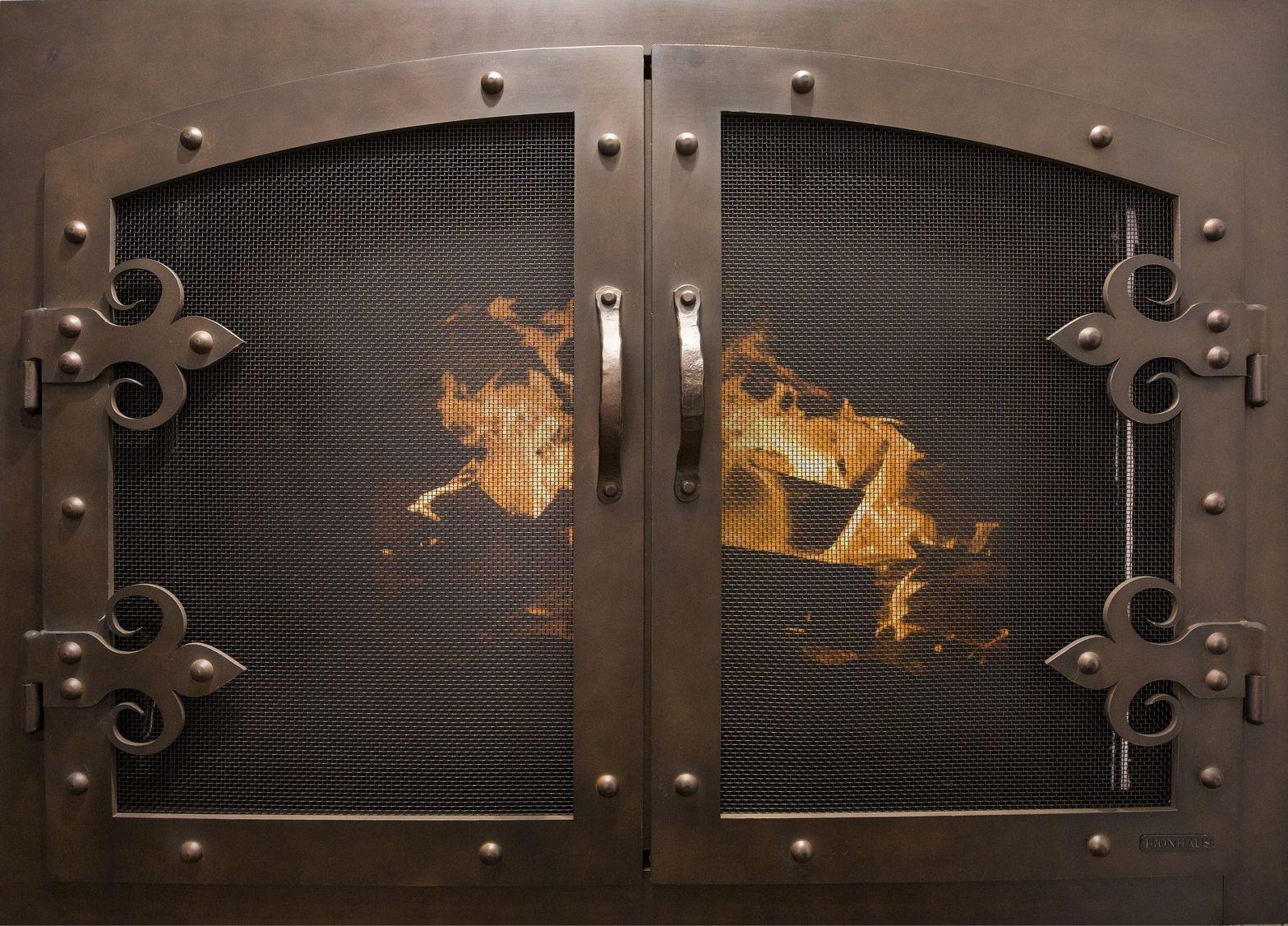 Portland Willamette Steel Door - Grand Forge II Door Brushed Black Copper Finish With Fleur-de-lis Hinge