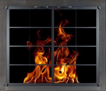 Portland Willamette Steel Door - Ovation Rectangular Cabinet Full Fold Pewter Frame Satin Black Doors
