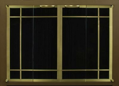 Portland Willamette Steel Door - Ovation Rectangular Window Pane Cabinet Full Fold Espresso Frame Brass Doors