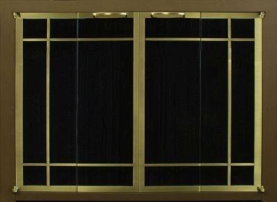 Portland Willamette Steel Door - Ovation Rectangular Window Pane Cabinet Full Fold Espresso Frame Brass Doors