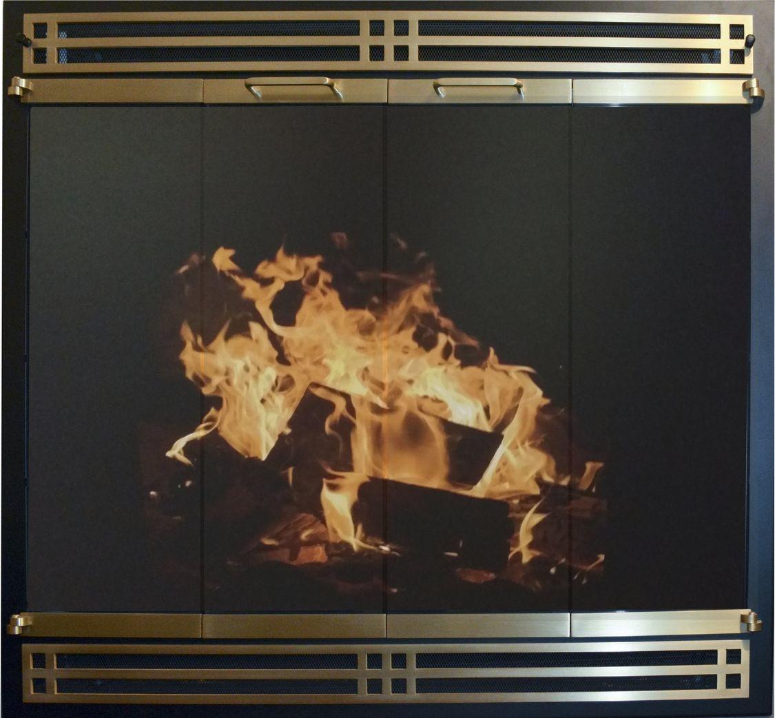 Portland Willamette Steel Door - Renewal Door Herritage Panel Design Satin Black Frame Polished Brass Doors