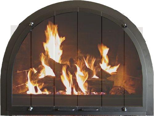 Portland Willamette Steel Door - Revelation Full Arch Center View Full Fold Satin Black Finish