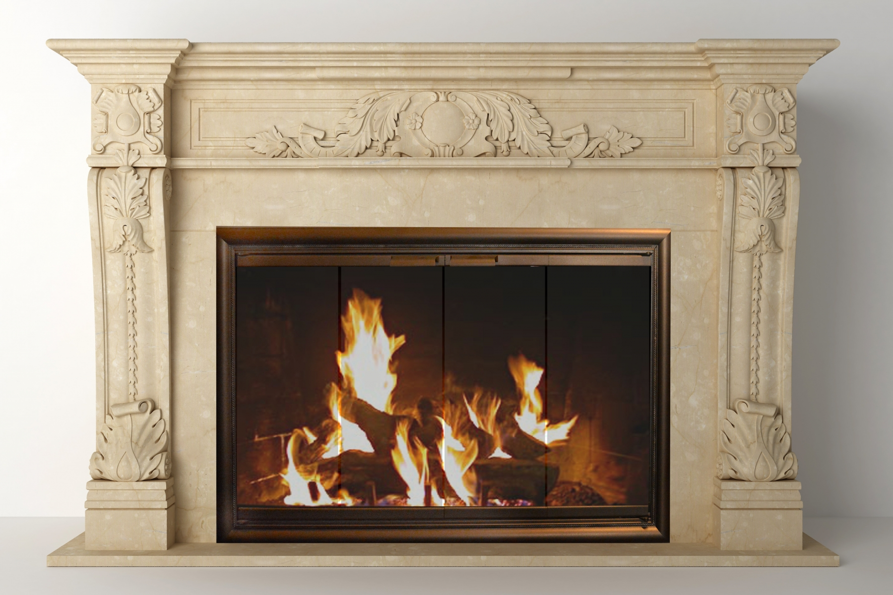 Portland Willamette Room - Crown Door Aged Bronze Finish Cream Colored Mantel