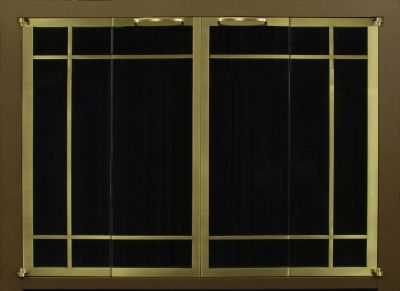 Ovation Rectangular Window Pane Cabinet Full Fold Espresso Frame Brass Doors