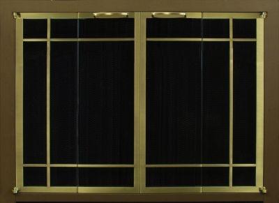 Ovation Rectangular Window Pane Cabinet Full Fold Espresso Frame Brass Doors