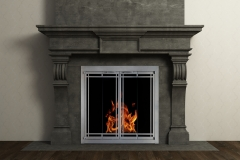 Ovation Door Rectangular Deco Full Fold Vintage Iron Dark Grey Mantel Surround